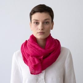 Deep Pink Linen Summer Scarf Garza