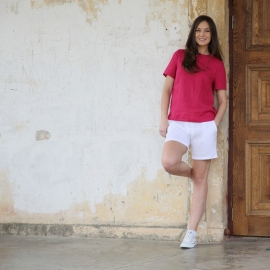 Shorts Optical White Linen Toby
