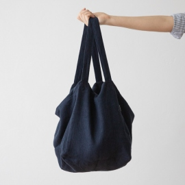 Linen Beach Bag Night Blue Lara