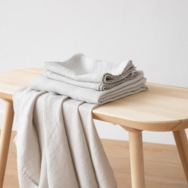 Silver Linen Bath Towels and Hand Towels Washed Waffle