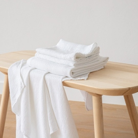 Optical White Linen Bath Towels and Hand Towels Set Washed Waffle