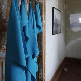 Turquoise Linen Towels Set Lara