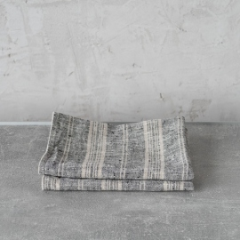 Set of 2 Tea Towels Black Multi Striped Linen