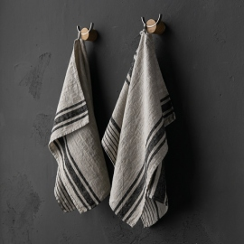 Set of 2 Natural Black Striped Linen Tea Towels Provence