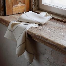 Set of 2 Cream Linen Tea Towels Linum