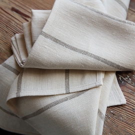 Set of 2 Natural Linen Tea Towels Brittany Large