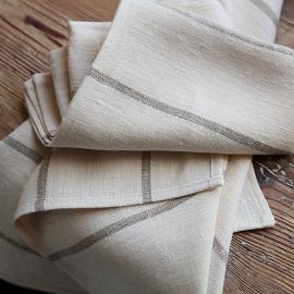 Set of 2 Natural Linen Tea Towels Brittany Large