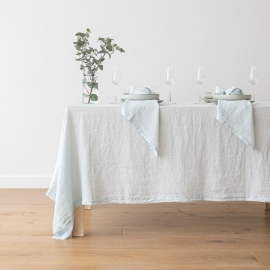 Ice Blue Linen Tablecloth  Stone Washed
