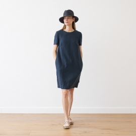 Off White Navy Check Linen Dress Isabella