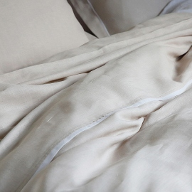 Linen Duvet Platinum With White Piping