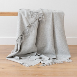 Silver Baby Alpaca Throw Bella