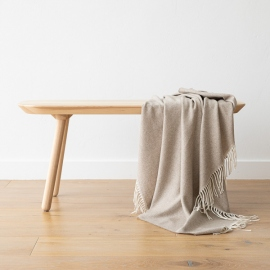 Beige Cashmere Throw Everest Herringbone