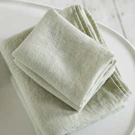 Aloe Green Linen Bath Towels and Hand Towels Washed Waffle