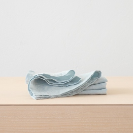 Ice Blue Linen Napkin Stone Washed