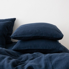 Navy Blue Stone Washed Bed Linen Pillow