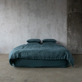 Balsam Green Stone Washed Bed Linen Duvet