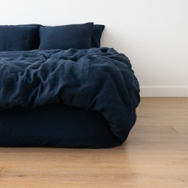 Navy Blue Stone Washed Bed Linen Duvet