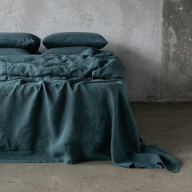 Balsam Green Stone Washed Bed Linen Flat Sheet