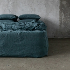 Balsam Green Linen Fitted Sheet Stone washed
