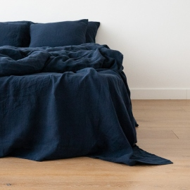 Navy Blue Stone Washed Bed Linen Flat Sheet