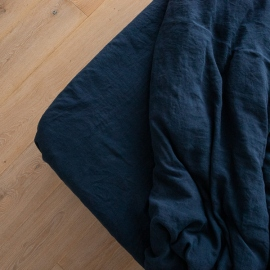 Navy Blue Linen Fitted Sheet Stone washed