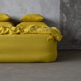 Citrine Linen Fitted Sheet Stone washed