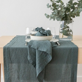 Stone Washed Balsam Green Linen Napkin