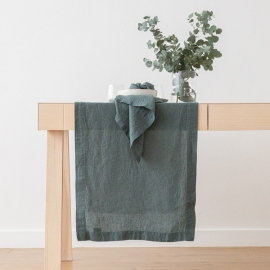 Stone Washed Linen Runner Balsam Green