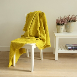 Linen Washed Waffle Throw Citrine with Fringes
