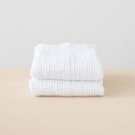 Linen Waffle Big Set of Hand Towels White
