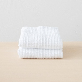 Set of 2 White Linen Waffle Big Hand Towels Washed