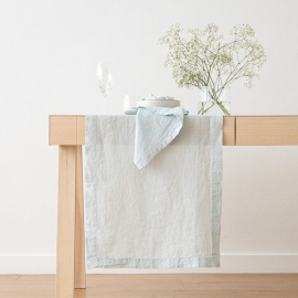 Ice Blue Linen Runner Stone Washed ...