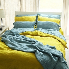 Linen Fabric Sample Citrine Stone Washed