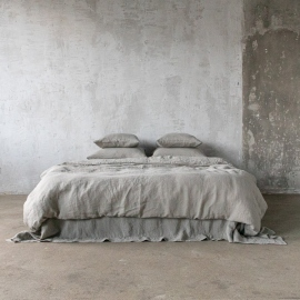 Taupe Linen Bed Set Stone Washed