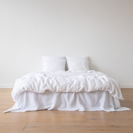 Optical White Linen Bed Set Stone Washed