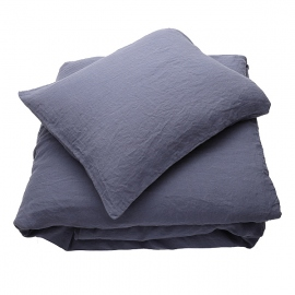 Blueberry Linen Bed Set Stone Washed