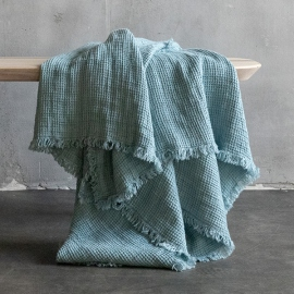 Linen Washed Waffle Throw Natural with Fringes