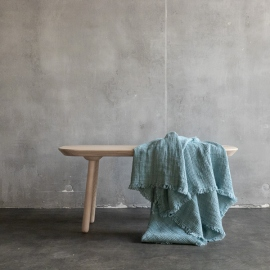 Stone Blue Linen Throw Washed Waffle Big Fringe