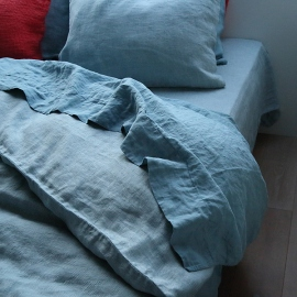 Stone Blue Stone Washed Bed Linen Flat Sheet