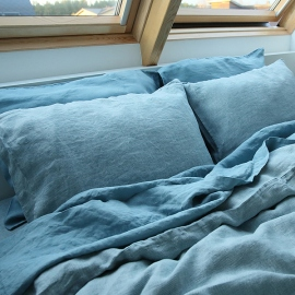Stone Blue Stone washed Rhomb Bed Linen Pillow Case