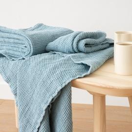 Stone Blue Linen Waffle Bath Towel Washed