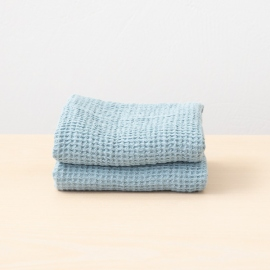 Set of Linen Bath and Hand Towels Stone Blue Waffle Washed