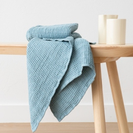 Set of 2 Stone Blue Linen Waffle Hand Towels Washed