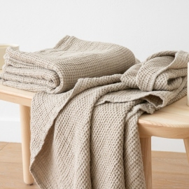 Natural Linen Waffle Bath Towel Washed
