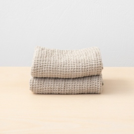 Set of 2 Natural Linen Waffle Hand Towels Washed