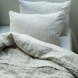Multistripe Natural White Linen Duvet Cover