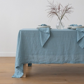 Awesome Stone Washed Stone Blue Linen Tablecloth ...
