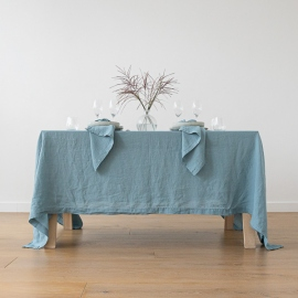 Stone Washed Stone Blue Linen Tablecloth Stone Washed Stone Blue Linen  Tablecloth