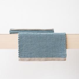 Hand Woven Linen Placemat Stone Blue Lara