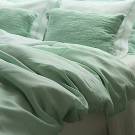 Duvet Cover Mint Hemstiched Linen